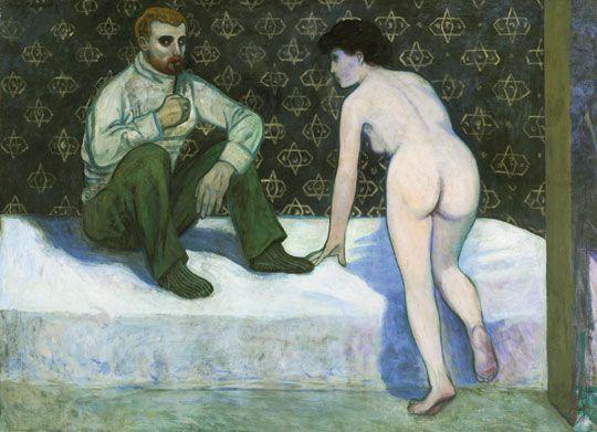 Kernstok Károly (1873-1940) Festő és modellje, 1906-1907 Olaj, vászon, 87,5x120 cm