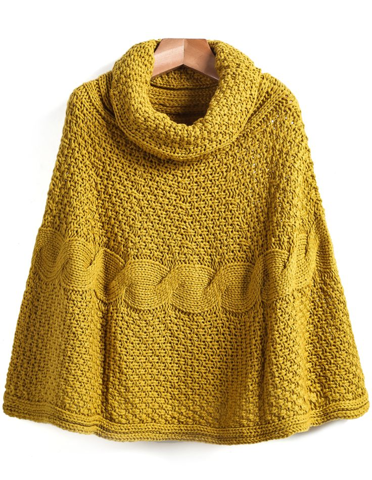 Yellow High Neck Cable Knit Cape Sweater - Sheinside.com