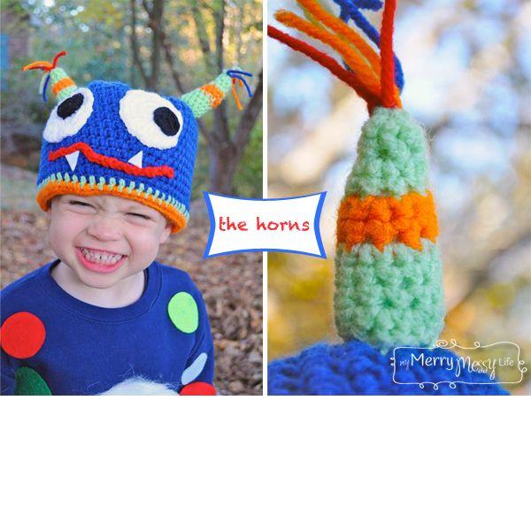 My Merry Messy Life: Crochet Monster Hat Horns