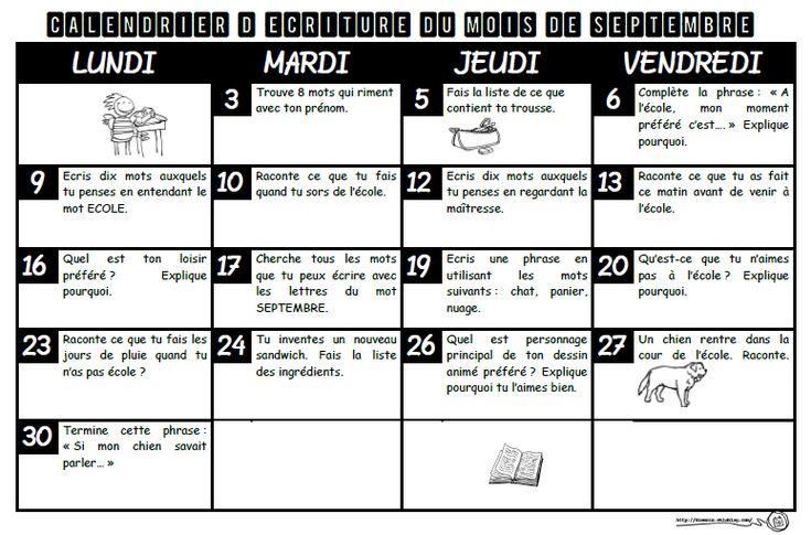 calendrier piste d'écriture