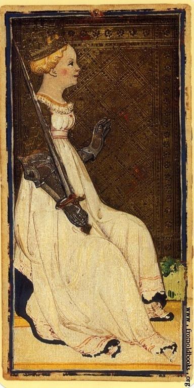 Queen of Swords from the 1455 Visconti-Sforza Tarot, via Deck of the Day