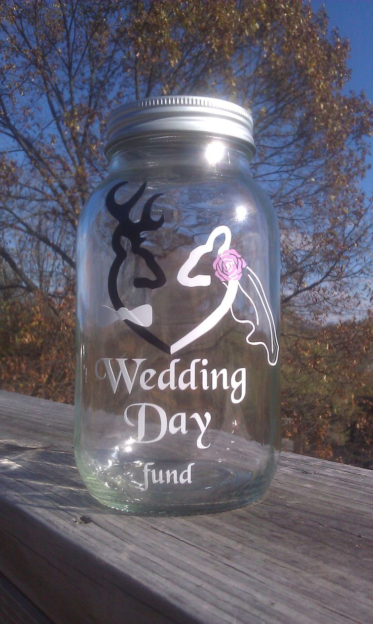 Browning Deer Wedding Day Fund 32 ounce Jar, Piggy Bank. $10.00, via Etsy.