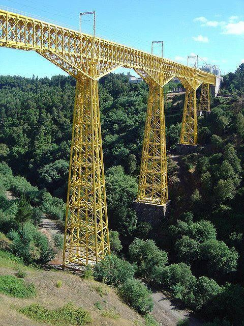 The Malleco Viaduct is a railway bridge located in central Chile, passing over the Malleco River valley, Araucania Region. It was opened on October 26, 1890 and was declared a national monument in 1990.-