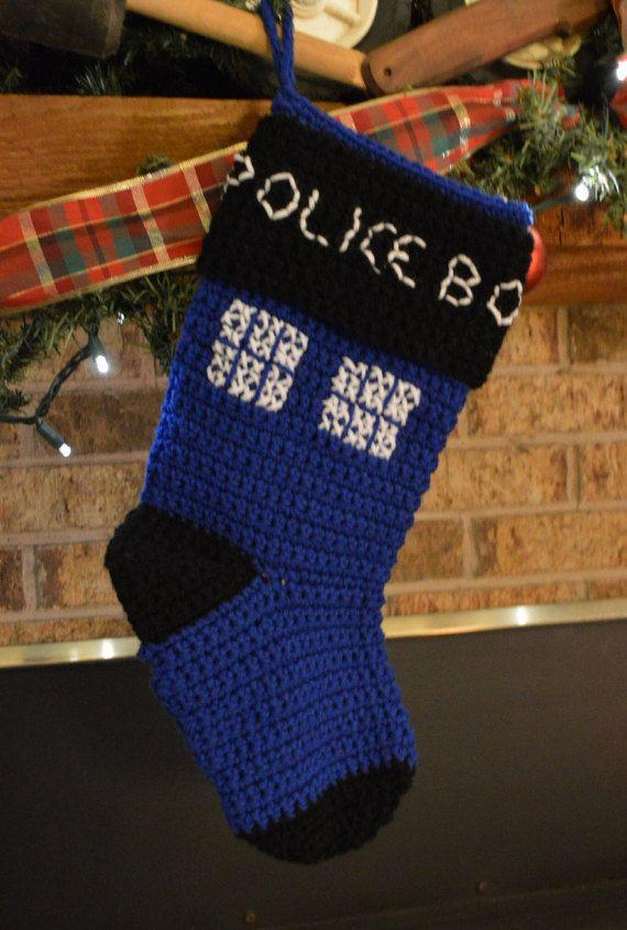 Crochet Tardis Stocking by DiversifiedDesignsTX on Etsy
