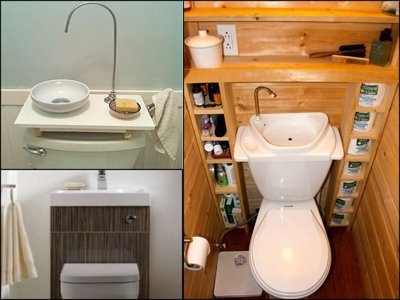 Sink Toilet Space Saving Combo Like the look of the setup on the lower left but I see the one on the right being a little difficult to maneuver when using the sink.