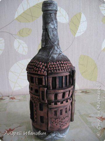 Декор предметов Лепка Бутылка сувенирная Бутылки стеклянные Гипс Глина Краска фото 1