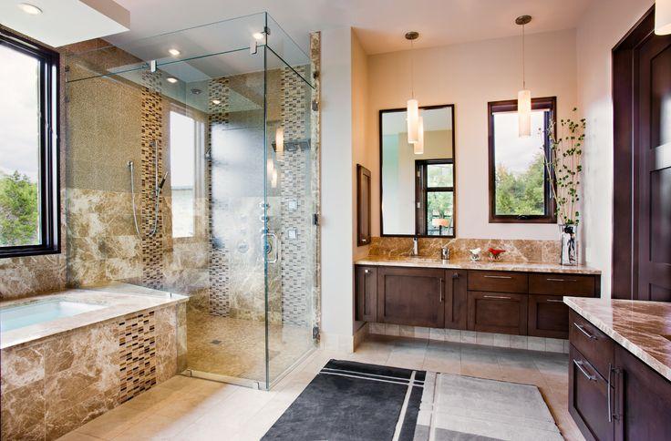 luxury bathroom   Picture of modern luxury bathroom in the Texas style wit dark wood ...