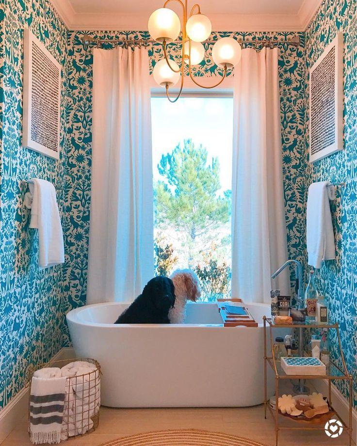 Bathtub goals! | Wallpaper pattern: Otomi (Turquoise) | Emily Isabella x Hygge & West | Bathroom wallpaper design