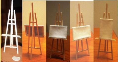 Miniature tutorial - easel for artist or to stand in dollhouse library as art display