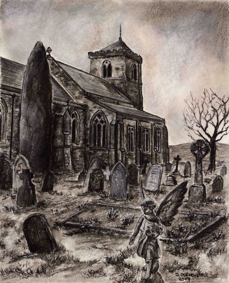 Churchyard in Yorkshire -  Charcoal on paper. 175 x 245 mm.  I spent two years travelling the UK alone and often frequented some of the old churches and cathedrals. I like the Gothic nature of this scene and the ancient Druidic megalith.