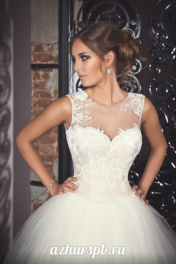 wedding dress bride ballgown lace nude cappuccino