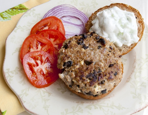... Style Turkey Burgers and Tomato-Feta Salad with Olives: 1 serving