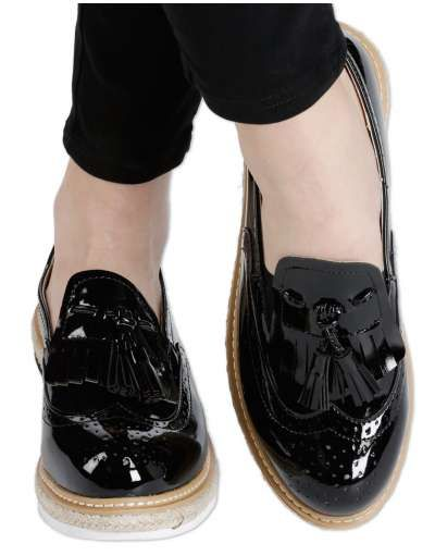 ΝΕΕΣ ΑΦΙΞΕΙΣ :: Flatform Oxfords Love & Leatherish Black - OEM