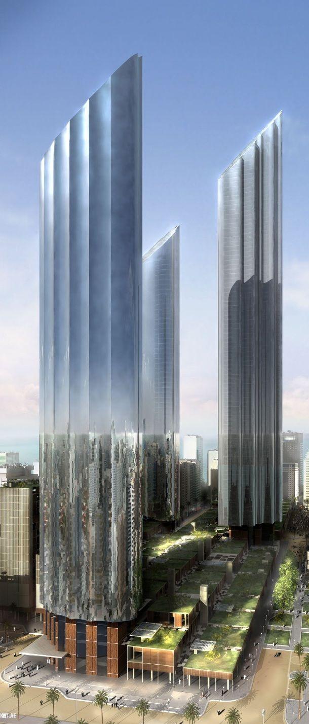 Las Residencias, Abu Dhabi, Emiratos Árabes Unidos. Diseñado por Foster + Partners. 88 pisos, la altura de 381m.