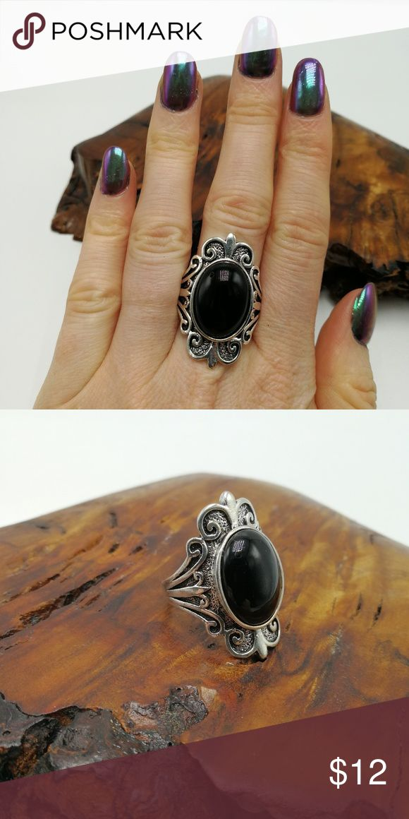 PLUS vintage silver onyx black Gothic Turquoise New with tags! Gorgeous Natural Gemstone White Buffalo Turquoise howlite Tibet Silver ring. Mixed metals. Lead and nickel free. Price is firm. No holds or trades. Bundle to SAVE. R#5009   *BLACK TURQUOISE*  PLUS SIZE Jewelry Rings