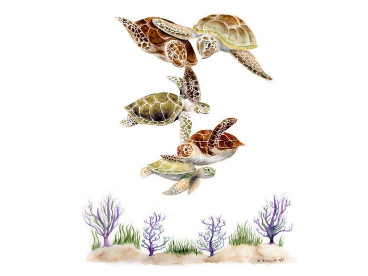 New to TinyToesDesign on Etsy: Sea Turtle Family Ocean Nursery Decor Turtle Art Nursery Art Sea Turtle Nursery Ocean Decor Ocean Nursery Green Orange Brown (15.00 USD) #nurseryart #tombowpro