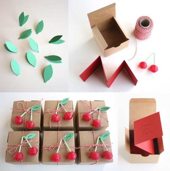 DIY: cherry party invitation: Cherries Parties, Ideas For, Gifts Wraps, Cherries Boxes, Parties Ideas, Favors Boxes, Parties Invitations, Diy, Gifts Boxes