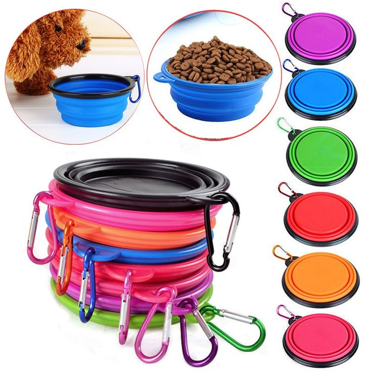 Candy Color Foldable Silicone Dog Bowl Travel Portable Puppy Pet Dog Feeding Drinking Bowl Pet Food Container plato perro