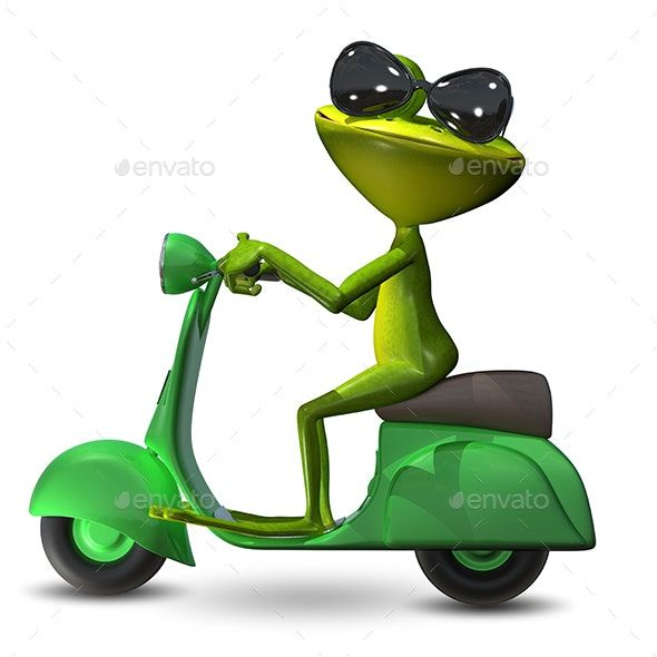3d Illustration Green Frog On A Motor Scooter Frog Art Funny Frogs Baby Animal Drawings
