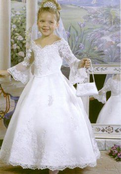 Bata de pelota V-cuello piso-longitud de organza de raso vestidos de niña