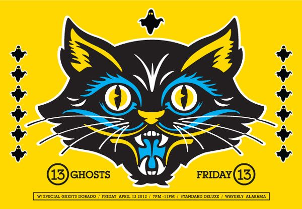 Cool cat illustration on this 13 Ghosts gig poster by Aaron Gresham.