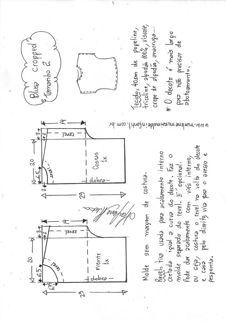 9ade2735c2 Blusa cropped simples - DIY- marlene mukai - molde infantil