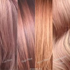I get a ton of questions about Rose Gold formulas. There are so many ways to create and customize them! I love intermixing a base color with a touch of warmth to pink it out and add the rose effect. We all perceive it a little differently, so what's your favorite!? Cool Rose: 10SM + 7RR Blush Rose: 9BrM + 5VR Warm Rose: 10B + Red booster Pearlescent Rose: 9VM + 7RR @kenraprofessional #kenracolor #kreate #colorfearlessly #RoseGoldHair #rosegold #blushhair #metallicobsession #haircolor #ken...