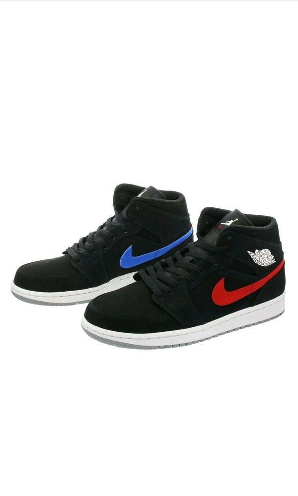 Nike Air Jordan 1 Retro Mid Sz 12 Black Red Blue Multicolor Swoosh