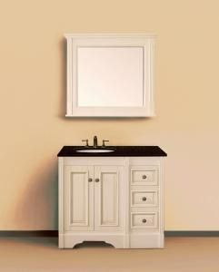 Image Of  Inch Single Sink Bathroom Vanity in Antique White with Free Mirror Through April Egypt