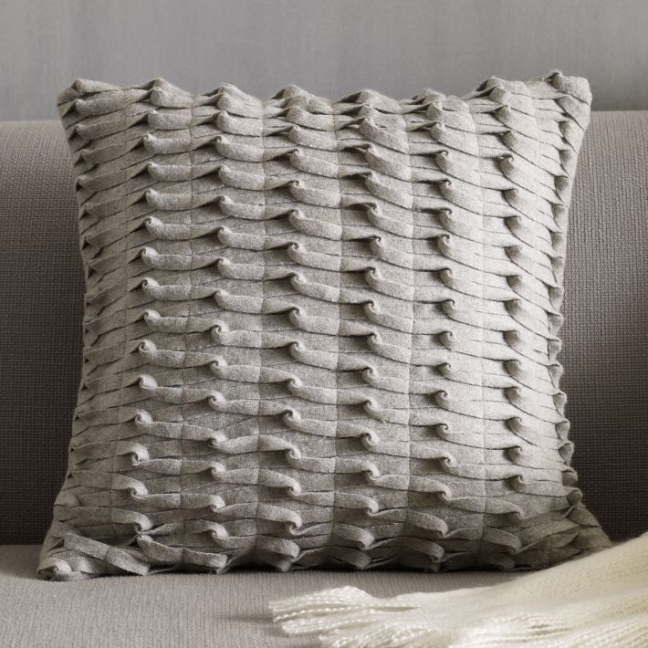 Gray Knotted Felt Pillow Cover West Elm For The Home