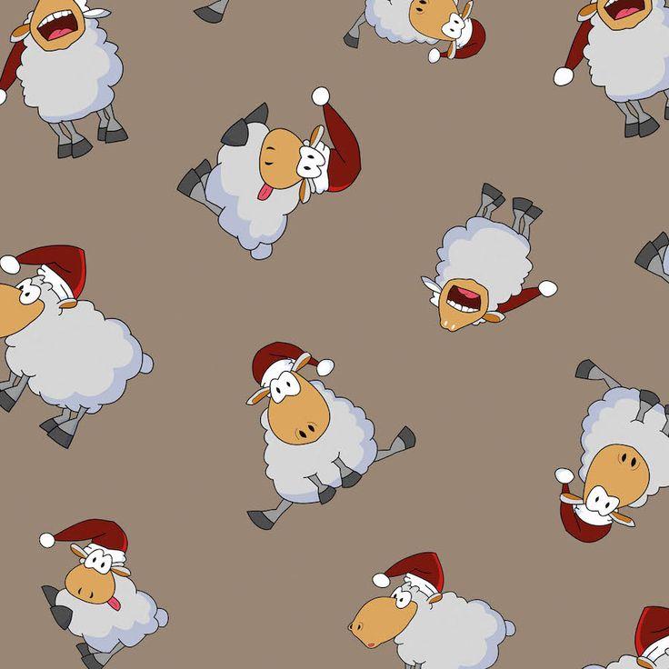 Christmas sheep on grey cotton jersey fabric wholesale