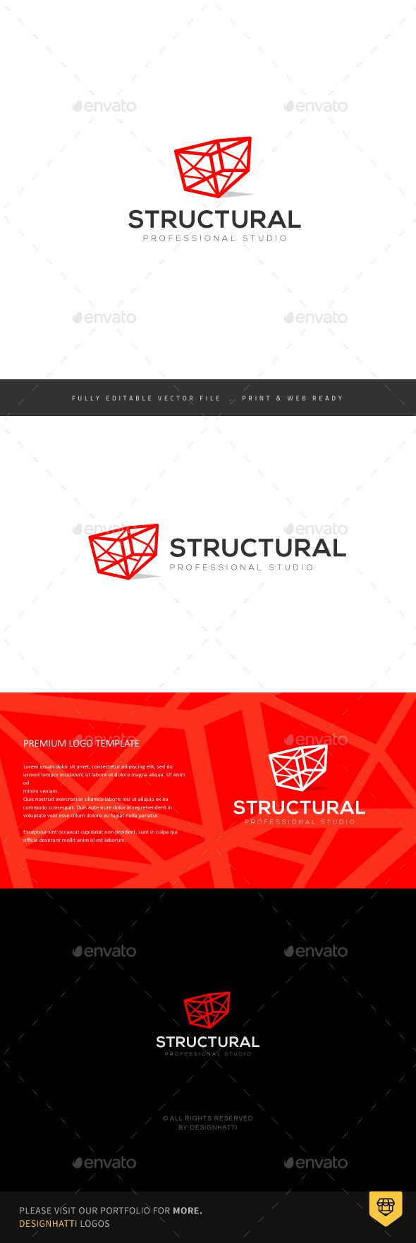Geometric Structure Logo — Vector EPS #structural design #engineering drawing • Available here → https://graphicriver.net/item/geometric-structure-logo/19261017?ref=pxcr