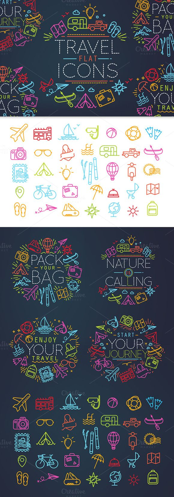 Travel flat icons by Anna on Creative Market