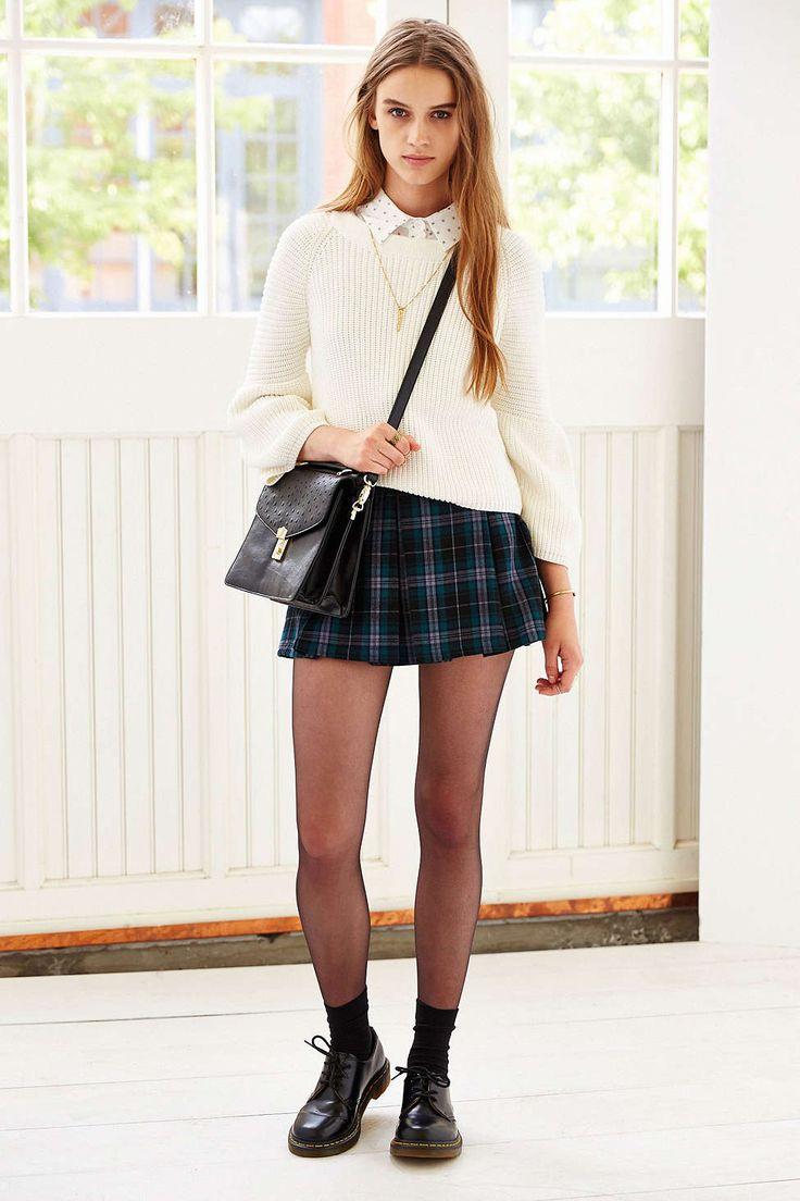 Ecote Plaid Inverted Pleat Mini Skirt … | Pinteres…