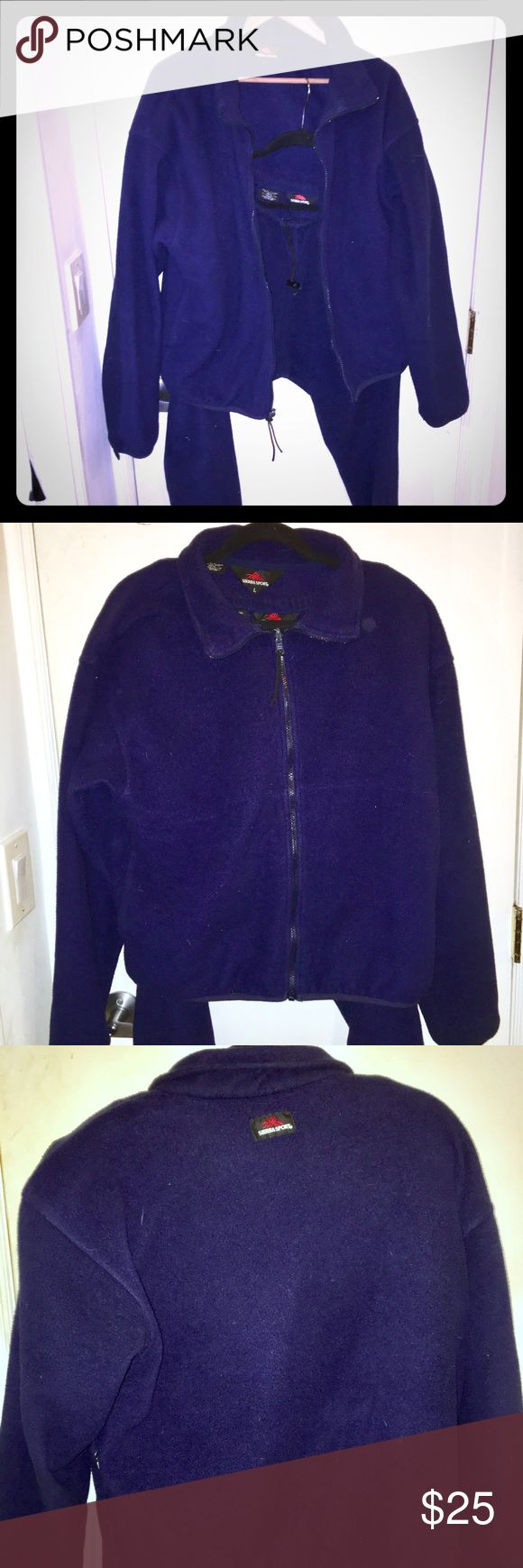 Sierra Sport Blue Polyester Fleece suit Sierra Sport 2 piece Blue Polyester Fleece suit, in size Large. Barely worn this like new set will keep you ensconced in Fleece! Perfect for those winter nights, or those morning jogs. Stay warm and look fly doing it. Sierra Sport Other