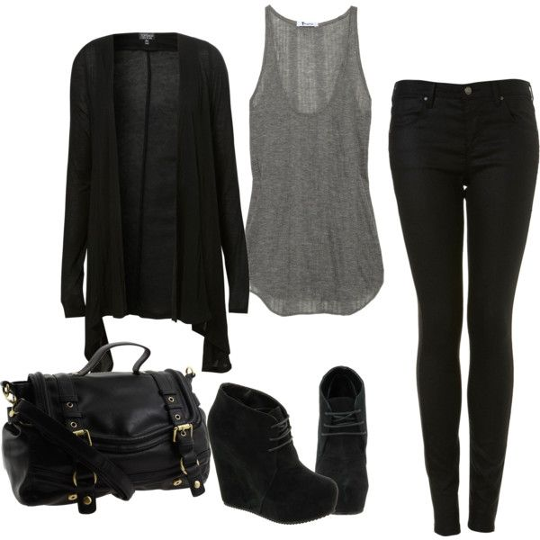 black liquid leggings, loose/flow-y grey tank, and a black sheer cardigan thrown on top. great outfit for fall