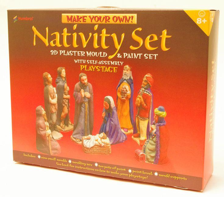 Tillverka din egen julkrubba. Set med allt som behövs för ändamålet.