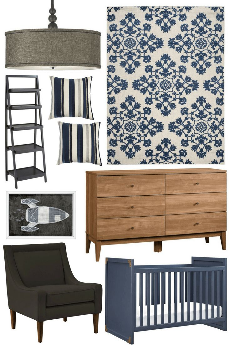 Nursery Blues. Beautiful decor finds for a baby boy nursery. Bold blues, natural wood, charcoal, and grey.