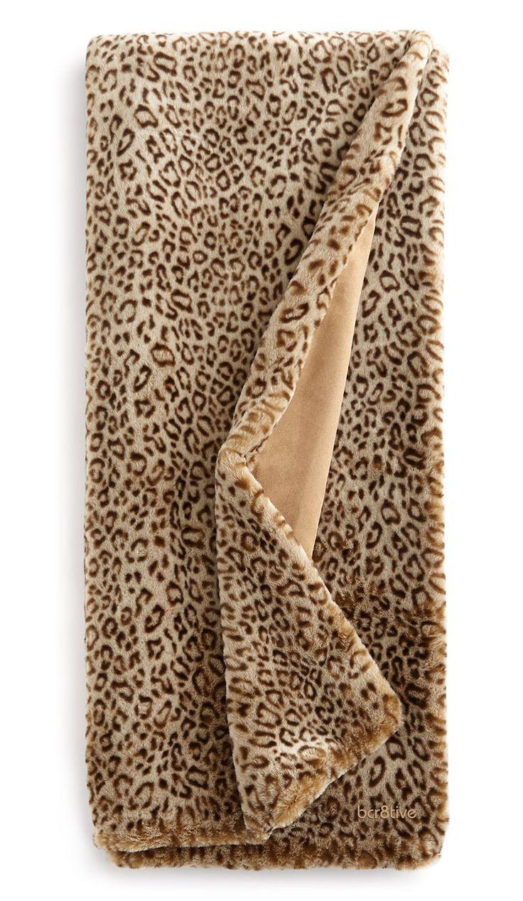 """Dian Austin Couture Home """"Snow Leopard"""" Faux-Fur Throws"""
