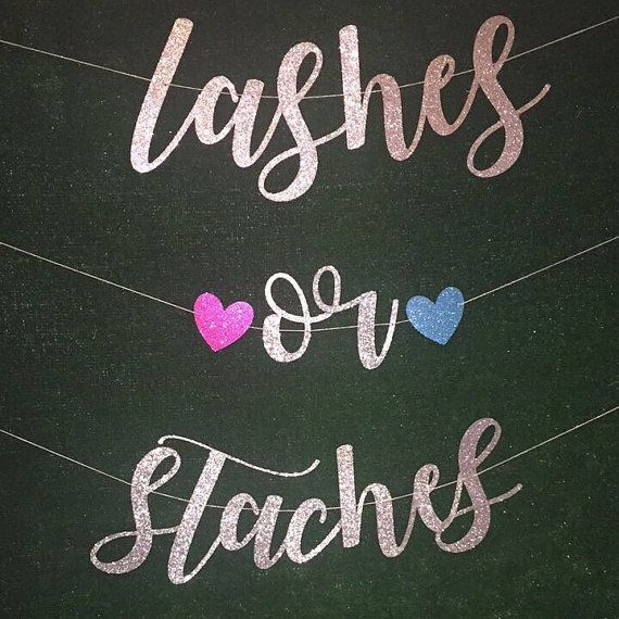 Gender Reveal Banner Lashes or Staches by AGirlAndSomeSparkle