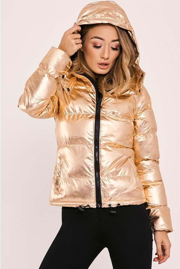 3df9dd48a Hadlee rose gold padded puffer jacket in 2019 | Metallic | Puffer ...