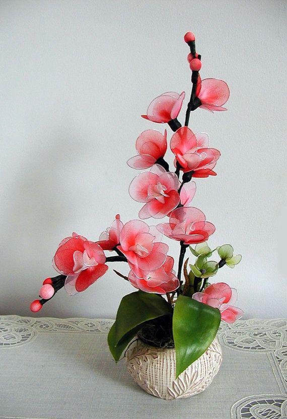 Handmade Colorful Nylon Orchids Arrangement