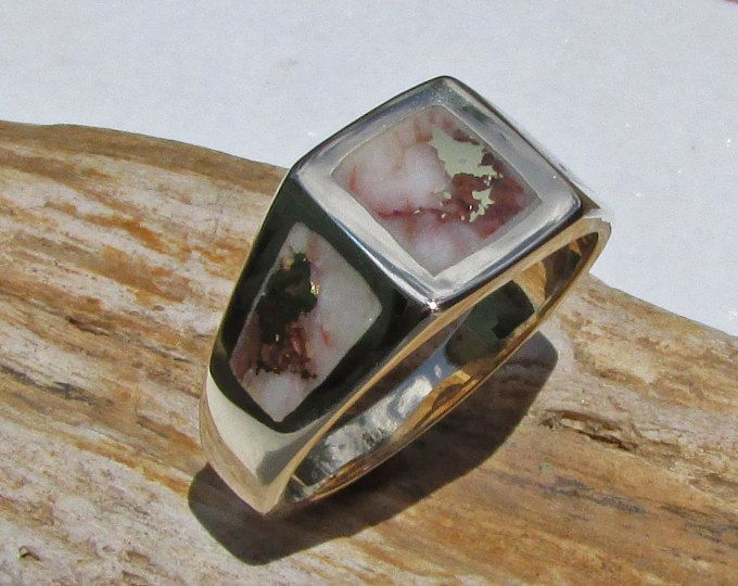 Gold Nugget Ring, Mens Gold Nugget Ring, Gold Veined ...