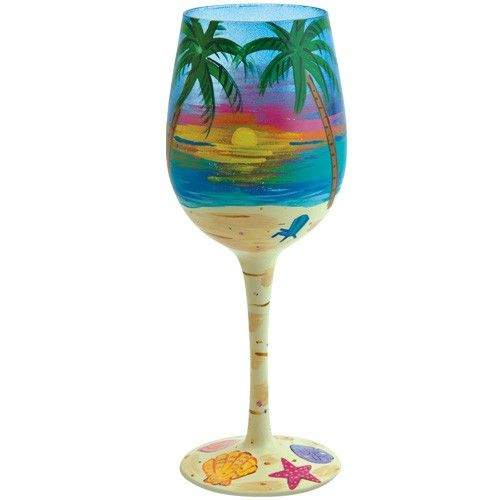 beach tropical wine glass | Lolita Love My Wine TROPICAL Glass NIB Hand Painted Beach Sunset Palm ...
