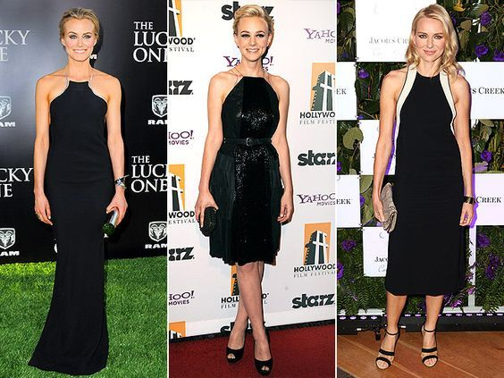 PIPED RACERBACK LBDS Taylor Schilling, Carey Mulligan and Naomi Watts show off their shoulders and add some visual interest to their simple black frocks by picking pieces with contrasting trim along the halter.