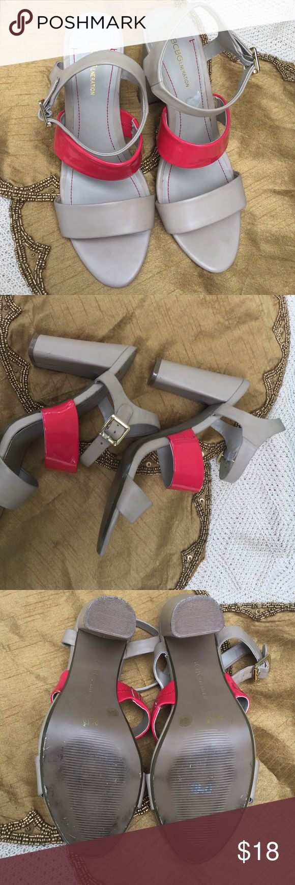 BCBG generation strapy chunky high heel sandals BCBG generation strapy chunky high heel sandals. In good condition tan color with orange patent leather straps size 10 B/40 BCBGeneration Shoes Heels