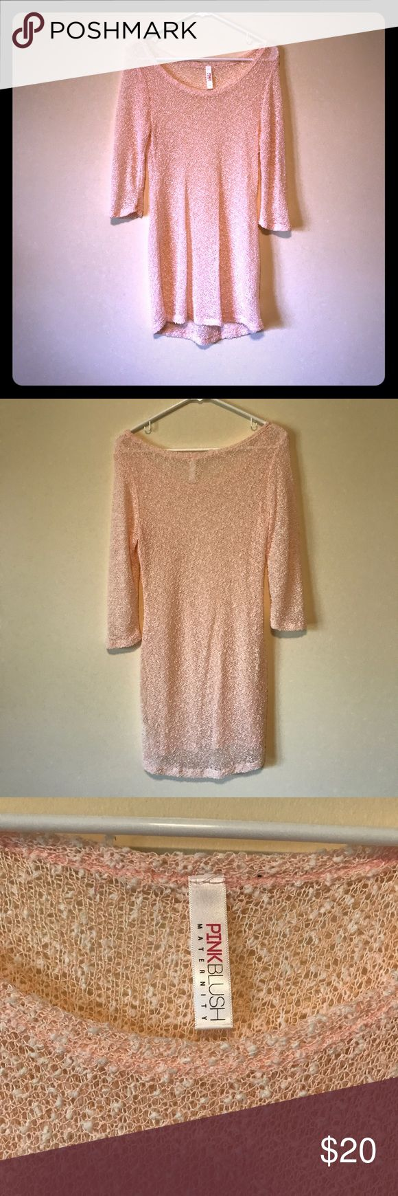 Pink Blush Maternity Pink long tunic top, size L Pink Blush Long tunic top- worn Maternity and not. Light pink color and see through (see last pic). Longer sleeves, comfy and no imperfections. Pinkblush Tops