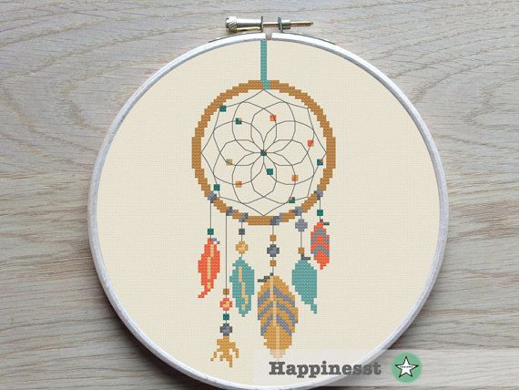 cross stitch pattern dreamcatcher, modern cross stitch, native american, teal-orange, PDF pattern ** instant download**