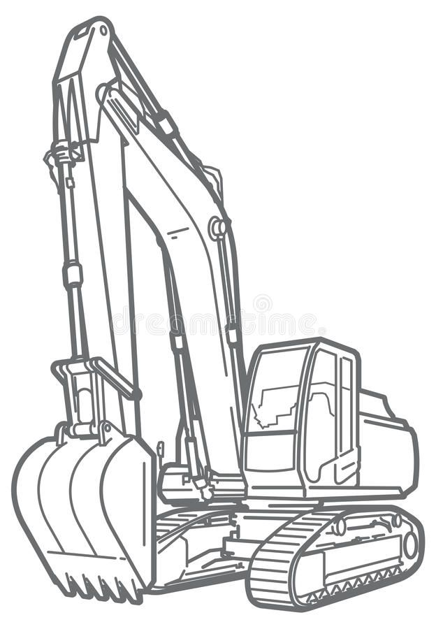 Outline Excavator Isolated Vector Outline Illustration Of A Excavator Isolated Spon Isol Cute Easy Animal Drawings Outline Illustration Outline Pictures