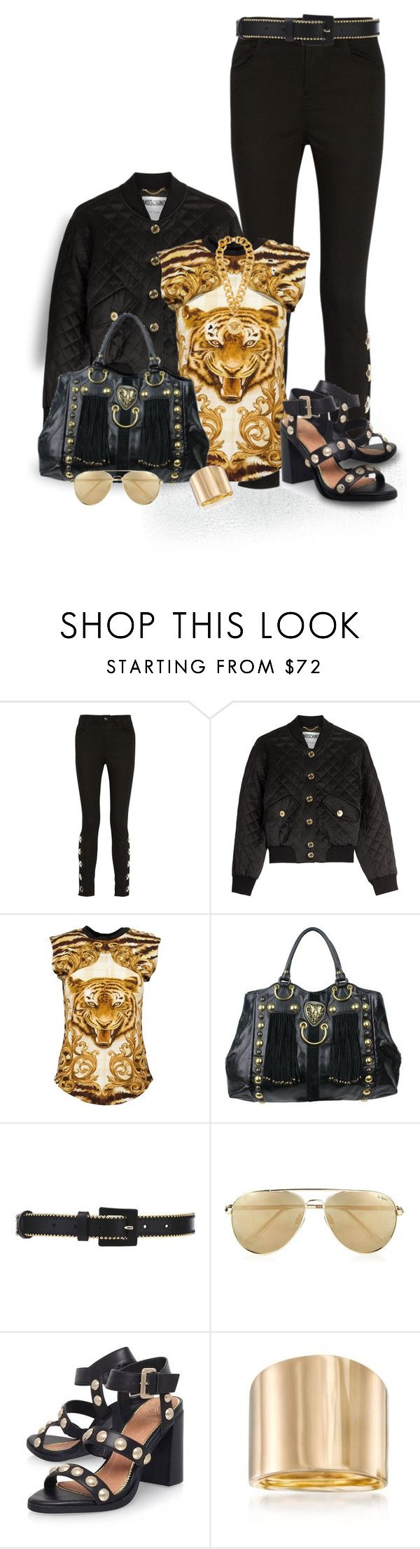 """moschino Bomber Jacket"" by seahag2903 ❤ liked on Polyvore featuring Anthony Vaccarello, Moschino, Balmain, Gucci, Oscar de la Renta, Le Specs, KG Kurt Geiger, Ross-Simons and Versace"